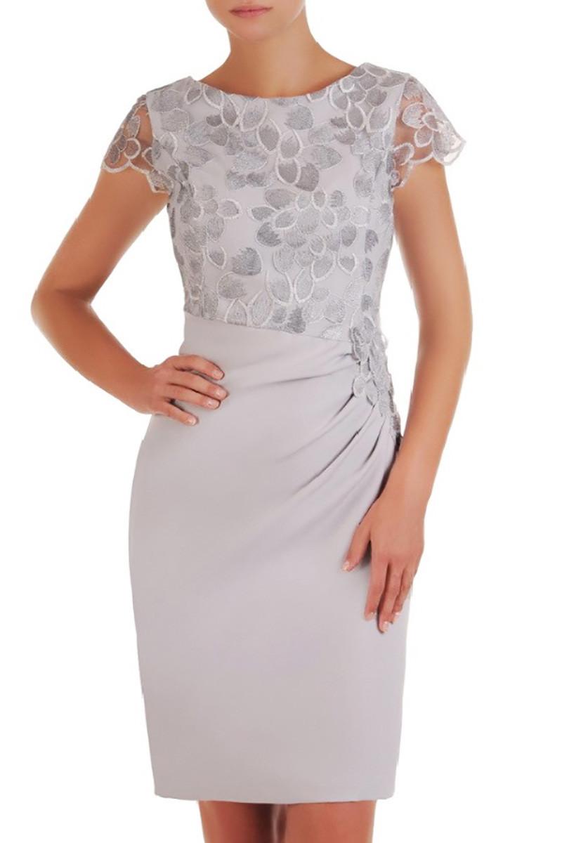 Dámske spoločenské šaty Silwan model 133779 - jers šedá 46