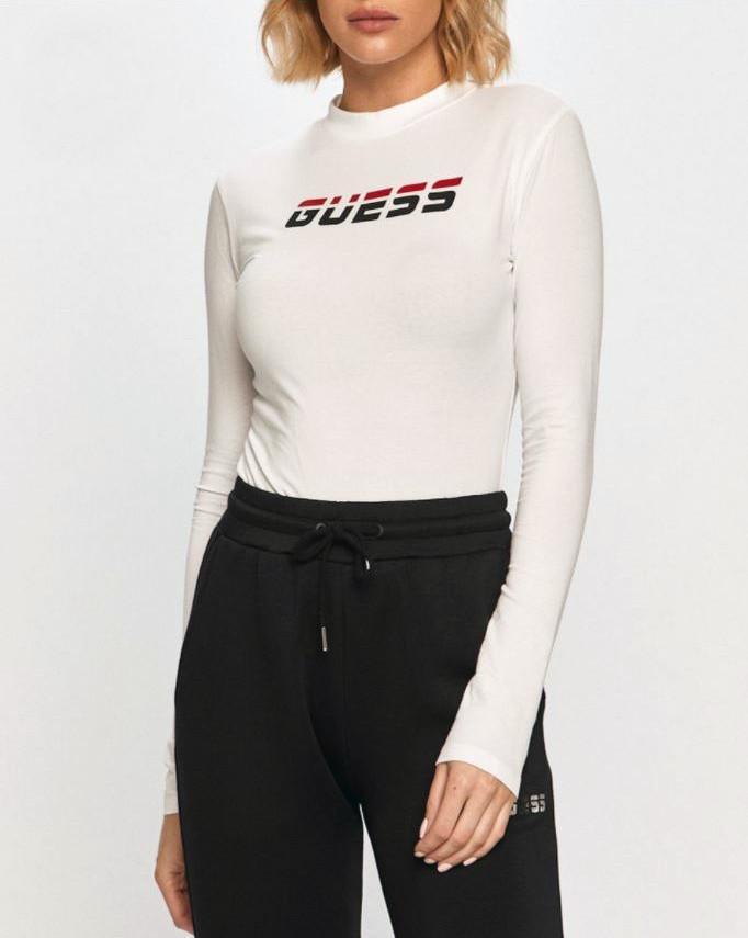 Dámske tričko s dlhým rukávom O0BA0PK6YW1 - TWHT - Guess biela M