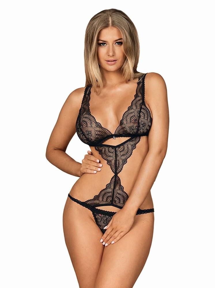Perfektné body Firella teddy - Obsessive čierna S / M