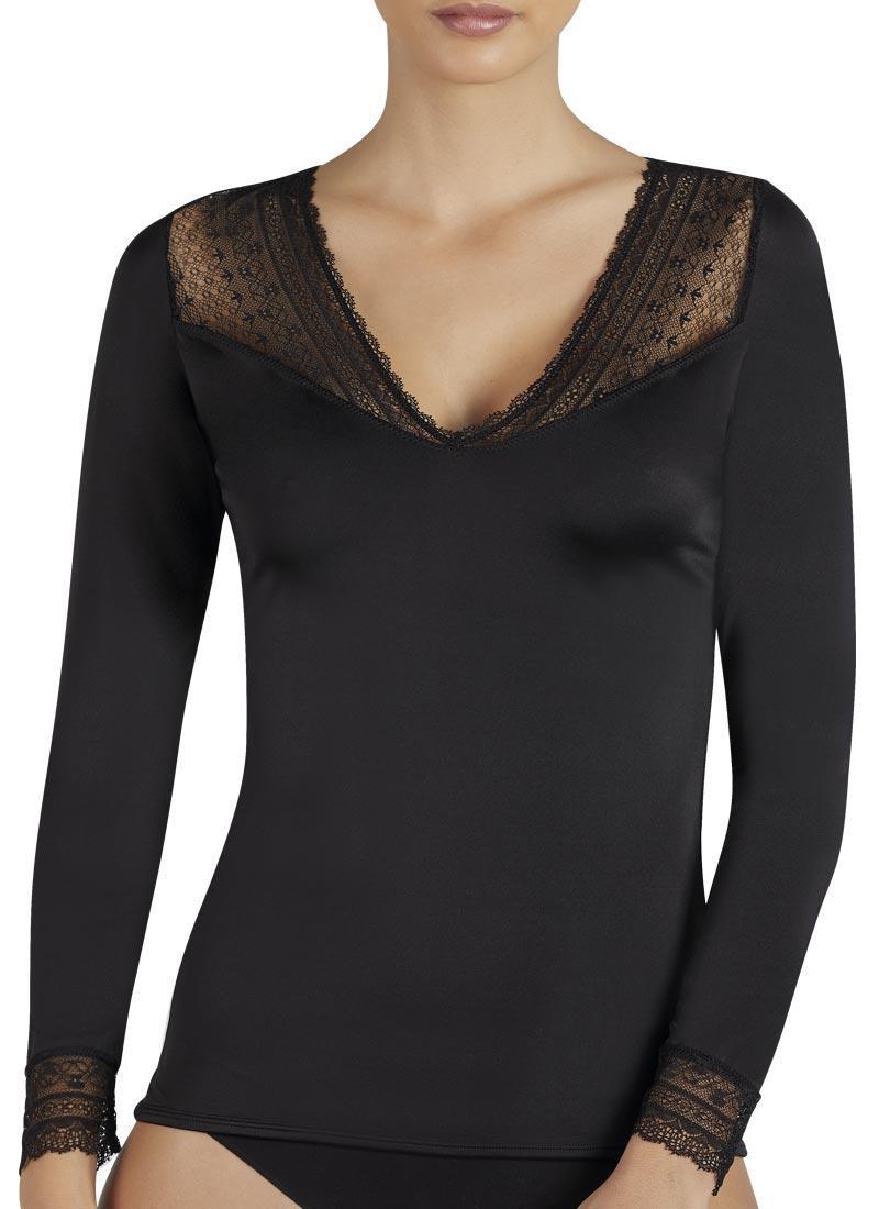 Dámske tričko s dlhým rukávom 19149 čierna - Ysabel Mora Čierna L