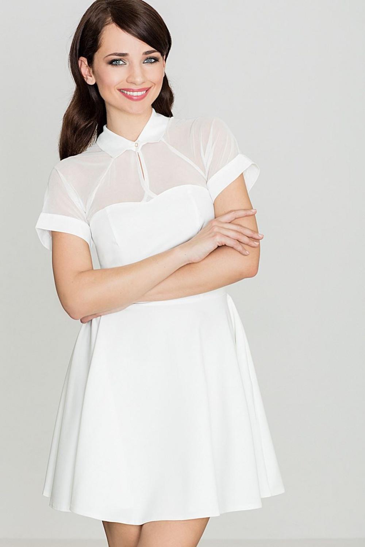 Krátke šaty K399 - Katrus ecri (krémová) S