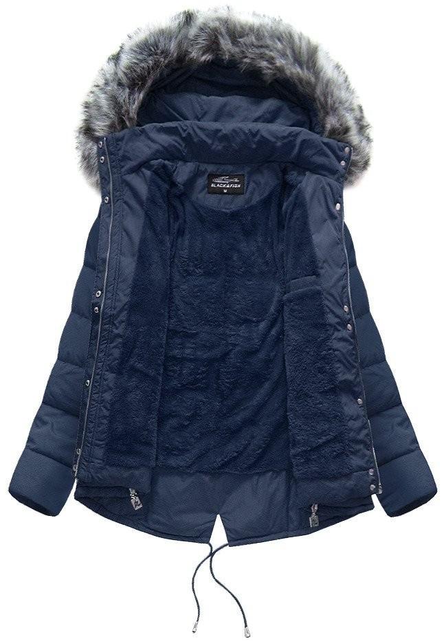 Dámska zimná bunda s kapucňou YB917 - Black Fish tmavo modrá M