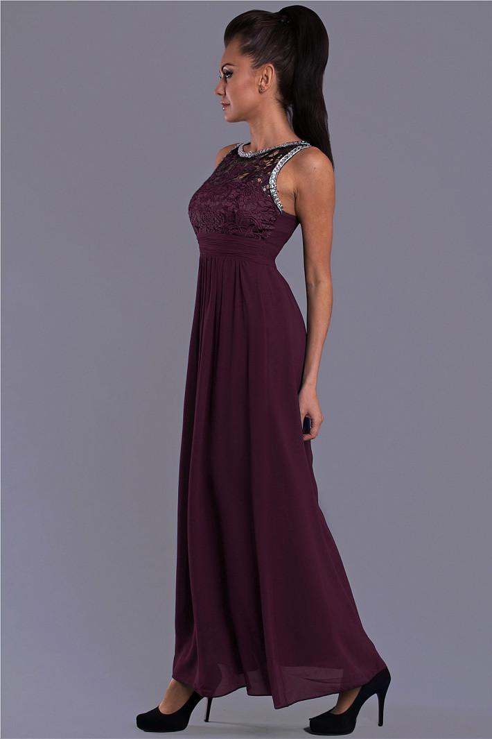 Dámske spoločenské šaty EVA LOLA s čipkou a kamienkami dlhé tmavo modrá temne modrá S