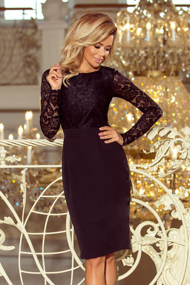 Dámske spoločenské šaty - 216-2 - krajkové s dlhým rukávom - Čierne S
