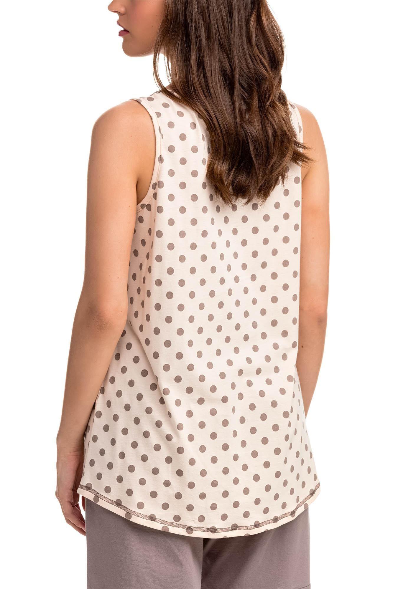 Pohodlné dvojdielne dámske pyžamo 14301 - Vanilka / bodkami S