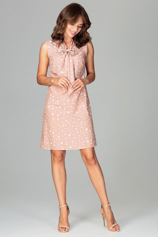 Dámske šaty K471 - Lenitif béžová a biela XL