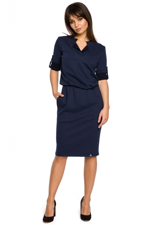 Dámske šaty B056 - BEwear tmavo modrá XL