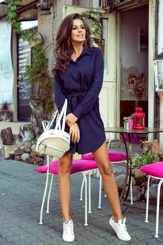 Dámske košeľové šaty - Numoco tmavo modrá M