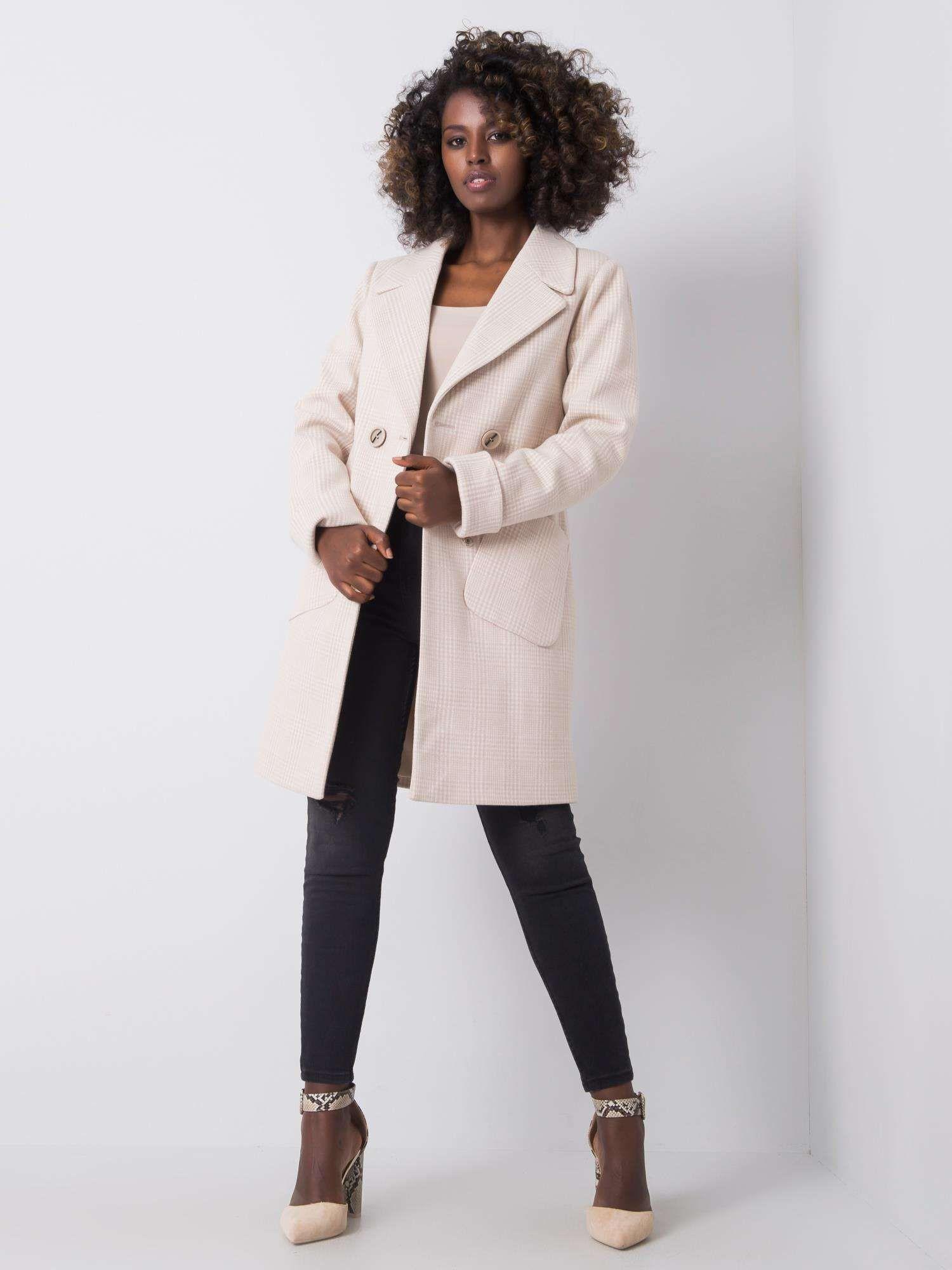 Dámský kostkovaný kabát 2701 - FPrice tmavě šedá M