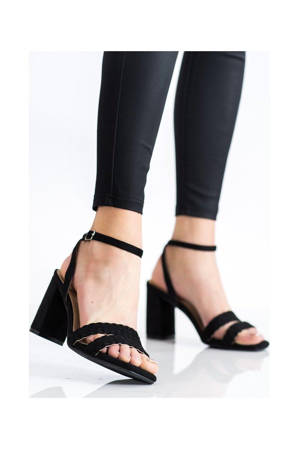 Dámske semišové sandále na širokom podpätku K2012501NE - Kylie crazy Čierna 39