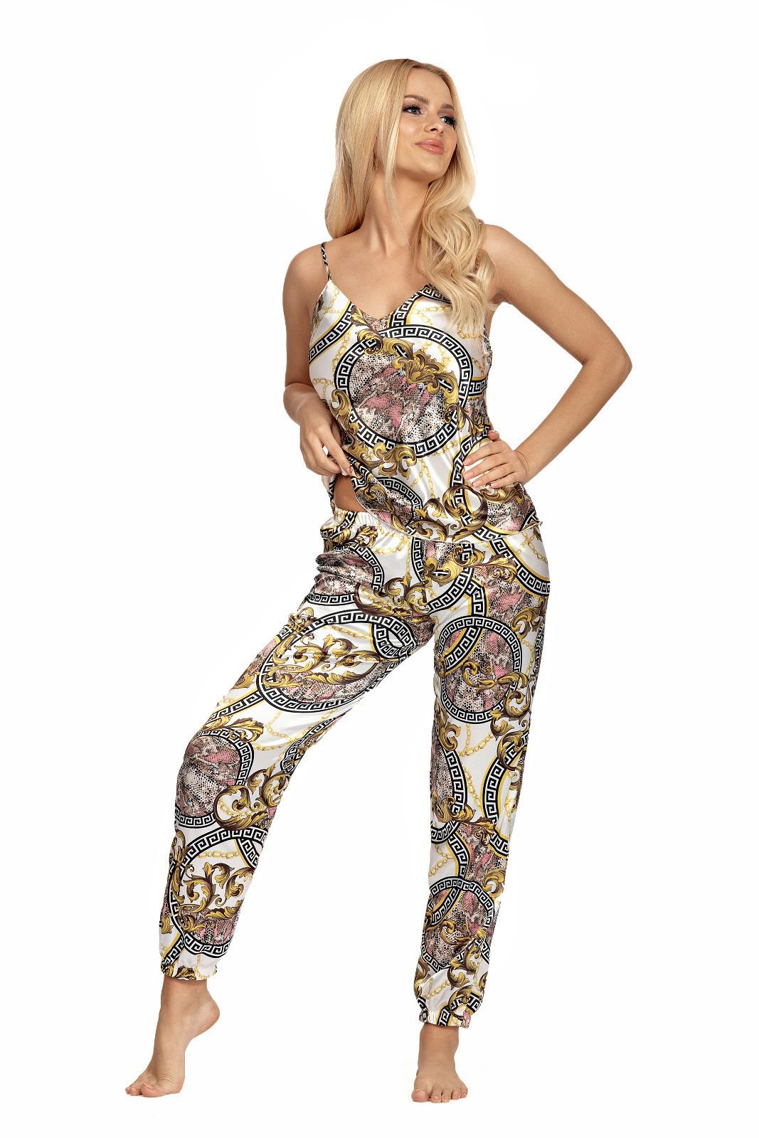 Dámske pyžamo Donatella 01 - Donna ecru s potlačou L-40