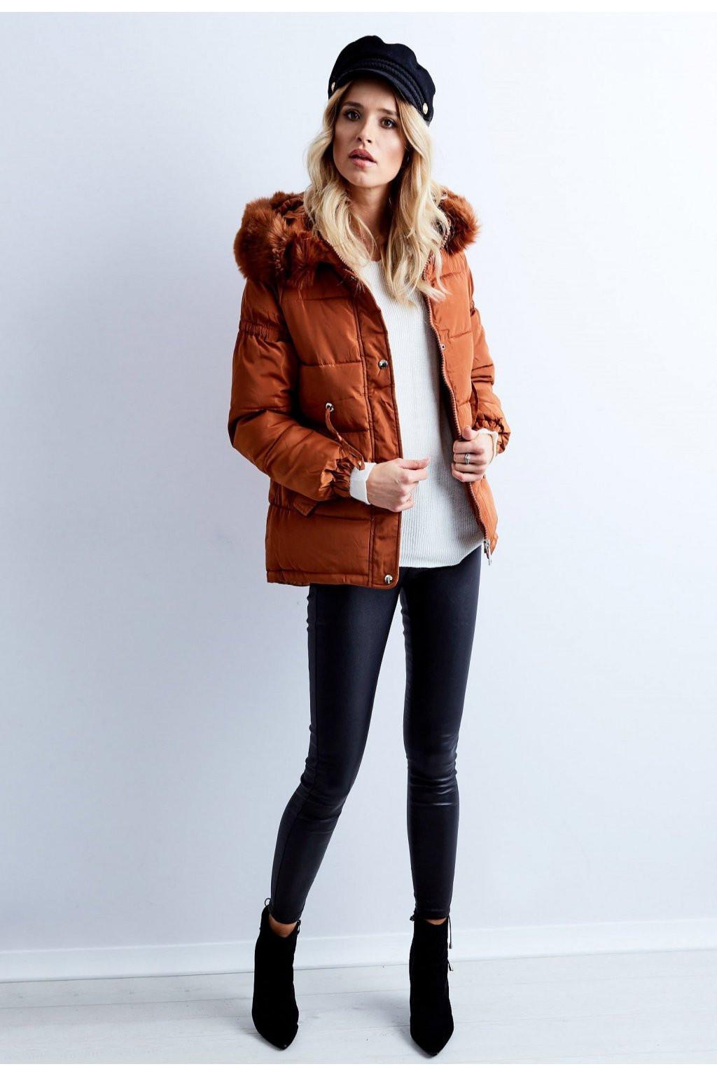 Dámska prešívaná zimná bunda bx4195 - FPrice hnedá XXL
