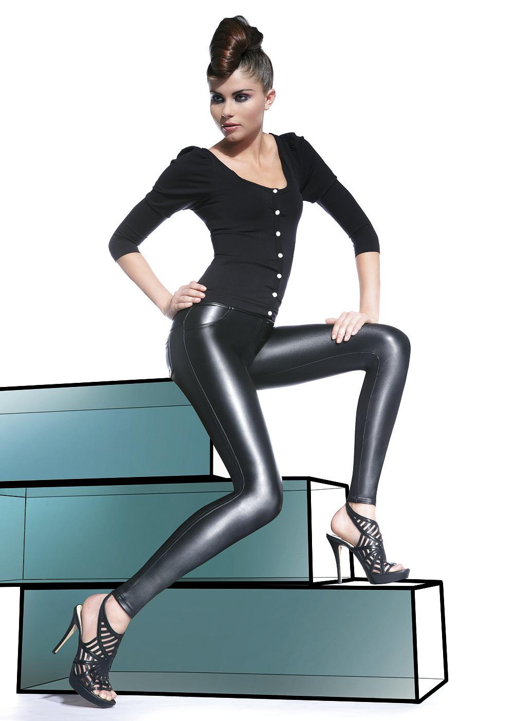 Legíny Vanessa - Bas Bleu barva: černá, velikost: M