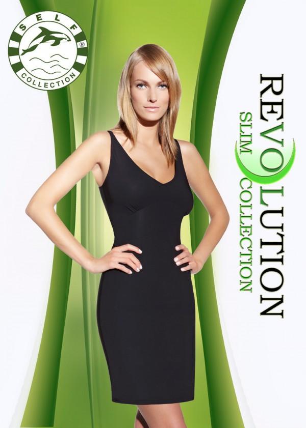 Zoštíhľujúci šaty F020 - Self čierna XL / 2XL