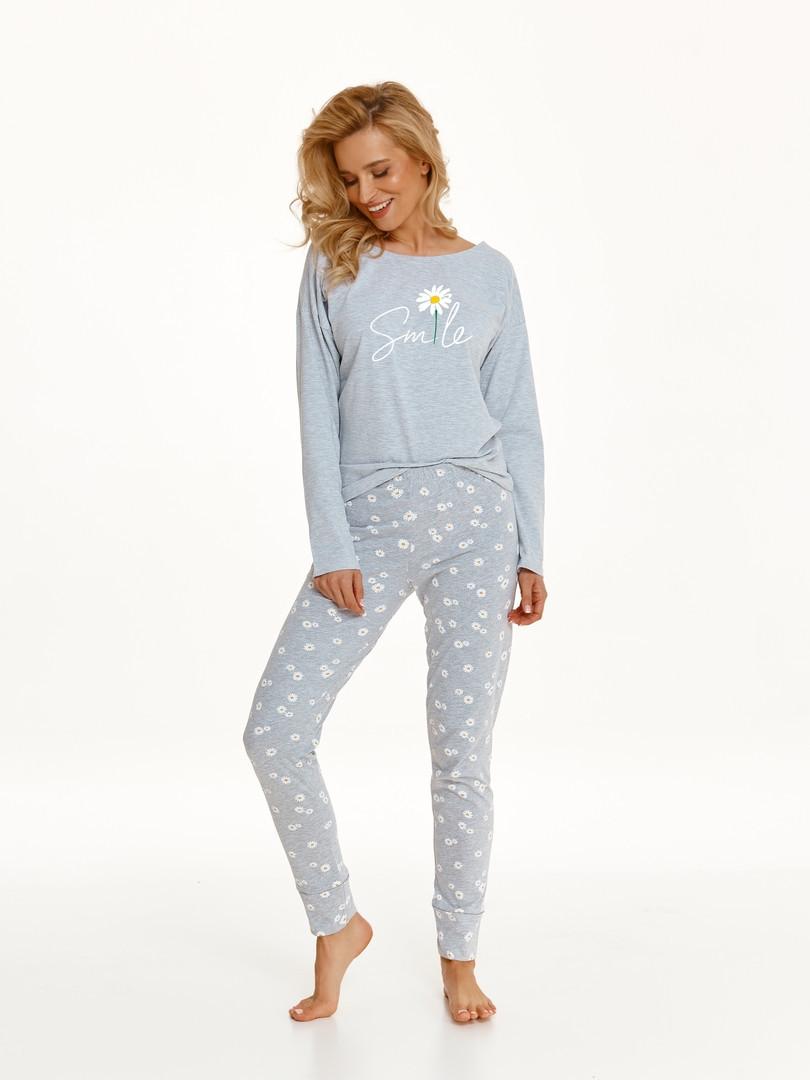 Dlhé dámske pyžamo 2572 NICOLE Zima 2021 SZARY L