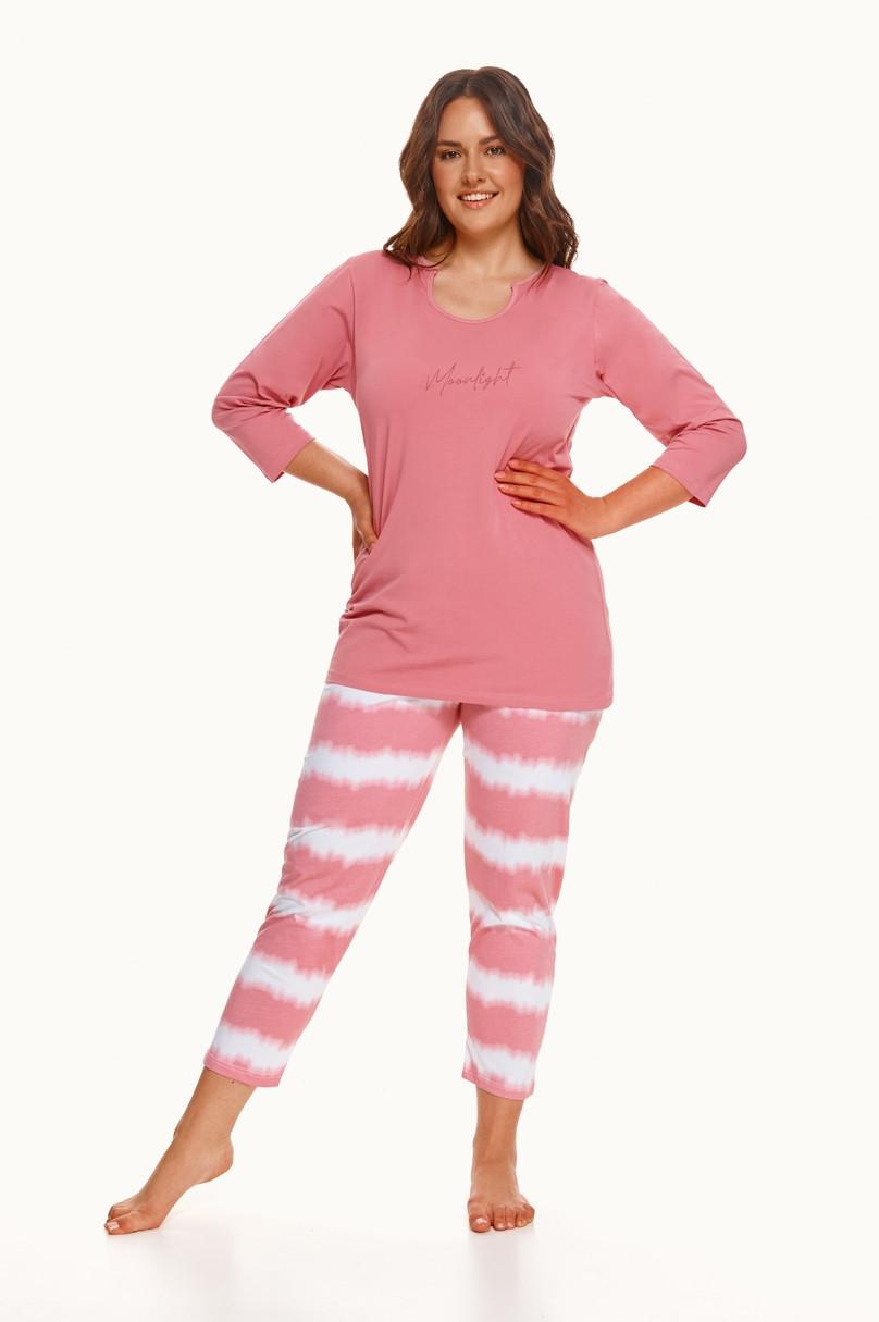 Dlhé dámske pyžamo 2606 CARLA 2XL-3XL WINTER 2021 růžová 3XL
