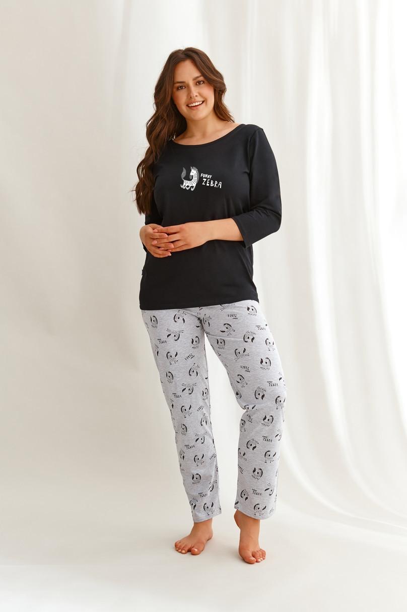 Dlhé dámske pyžamo 2610 VESTA 2XL-3XL Zima 2021 černá 3XL