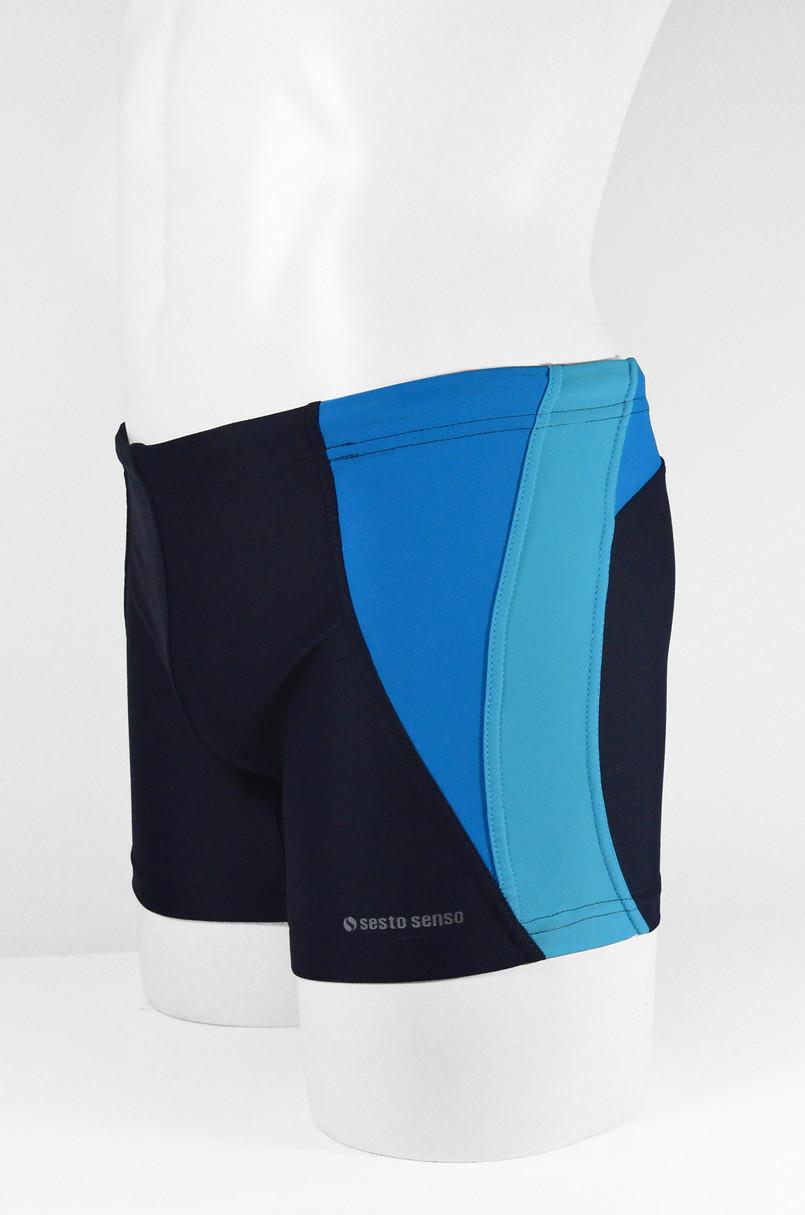 Pánské plavky boxerky BD 378 - SESTO SENSO tmavě modrá/modrá/limetková L