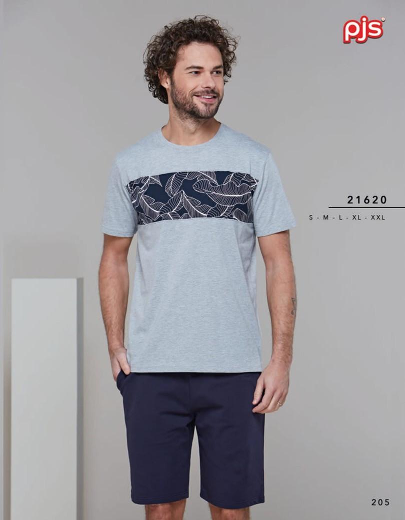 Pánske pyžamo (krátke rukávy / krátke nohavice) 21620 šedá XXL