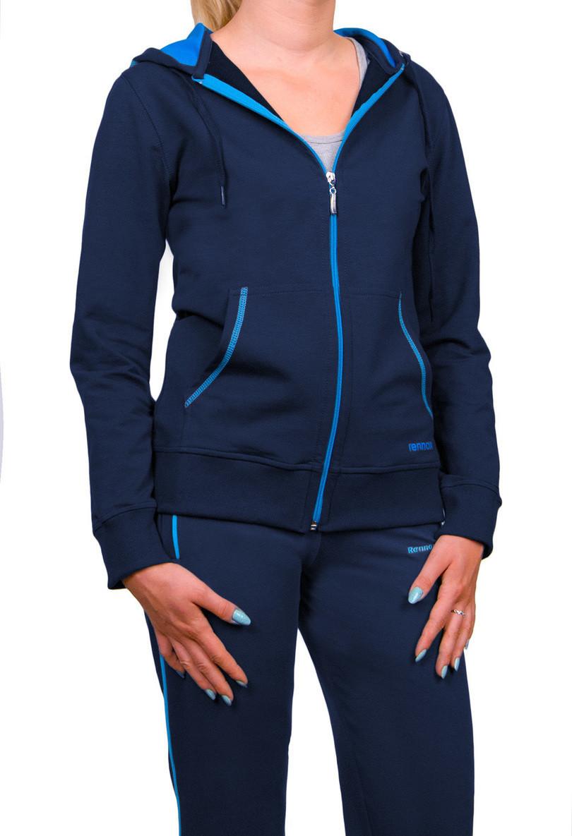 Dámska mikina s kapucňou 0603 tmavě modrá-tyrkysová M