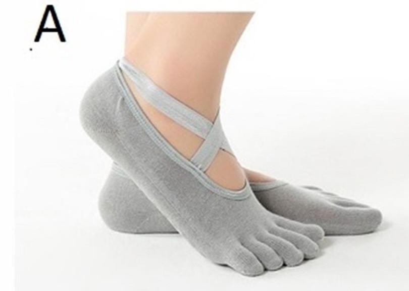 Ponožky s palcami - na jogu šedá uni velikost