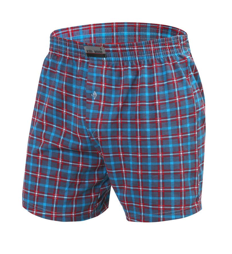 Pánské boxerky PANTHER - SESTO SENSO jeans/tyrkysová/červená XL