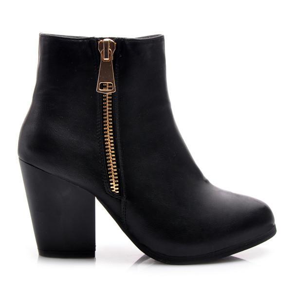 Parádní černé kotníčkové dámské boty s módním zipem 39