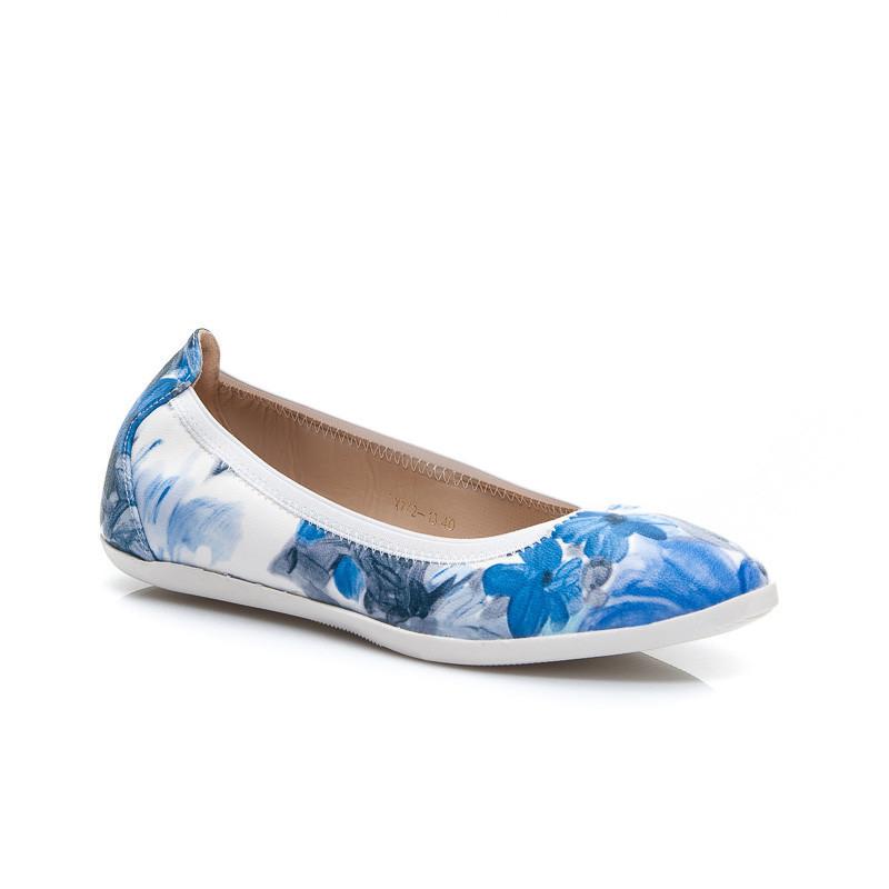 Originálne modré dámske baleríny s kvetmi 36