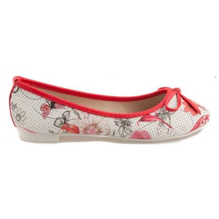 Červené balerínky s květy 38