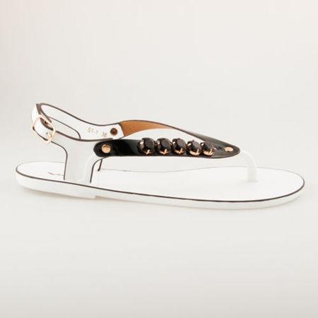 Fantastické bílo-černé gumové sandály 40