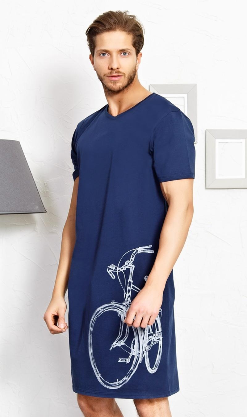 Pánská noční košile s krátkým rukávem Bicykl šedá XL