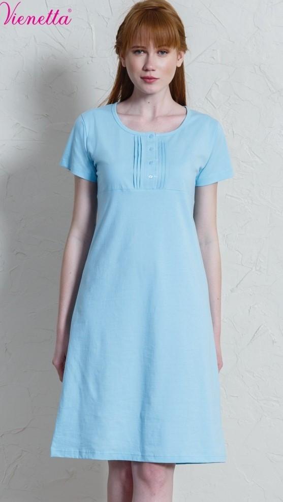 Dámská noční košile s krátkým rukávem Petra azurová S c6751758b7
