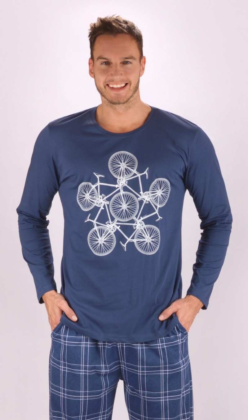 Pánske pyžamo dlhé Bicycle tmavo modrá M