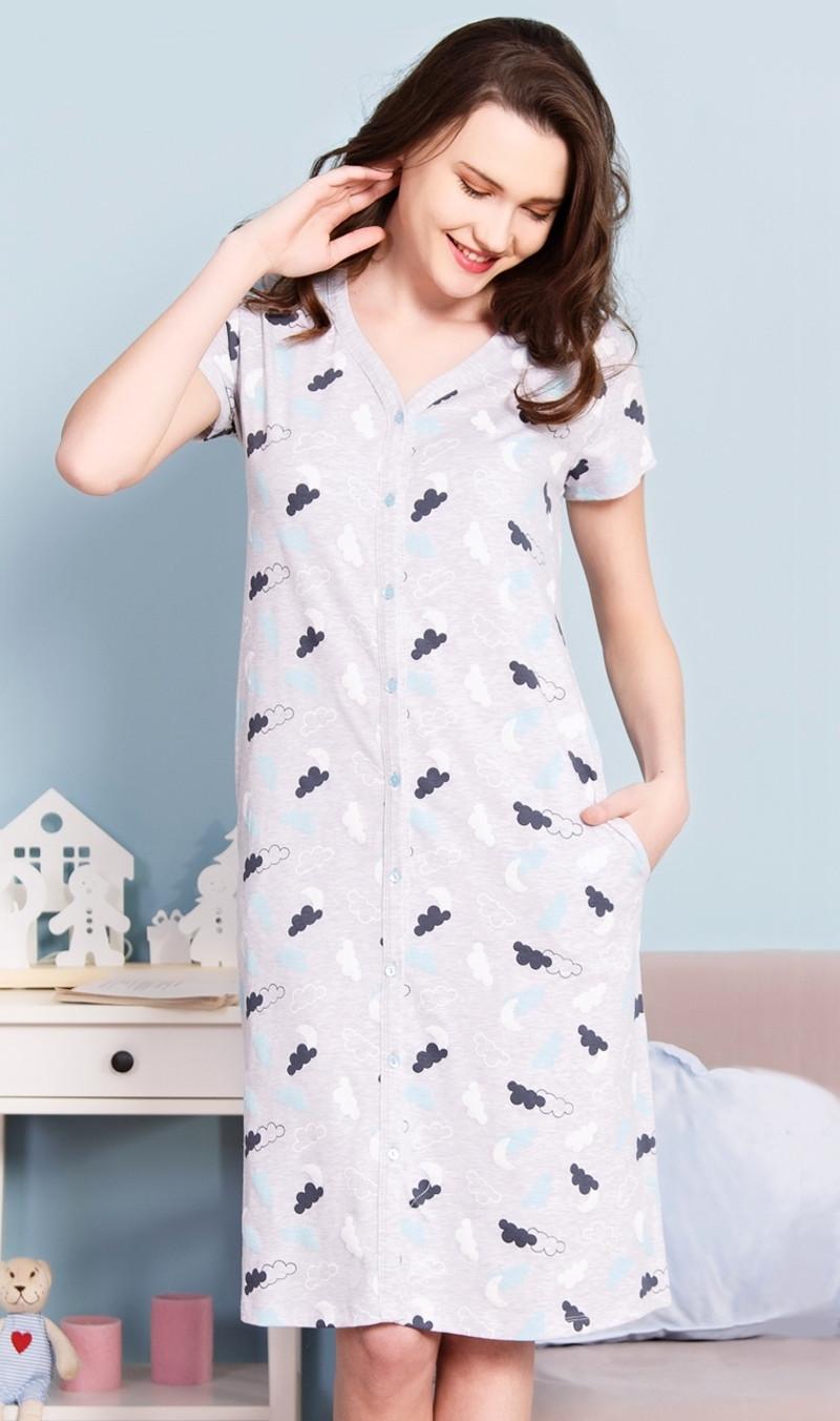 Dámské domácí šaty s krátkým rukávem Nebe světle šedá XL