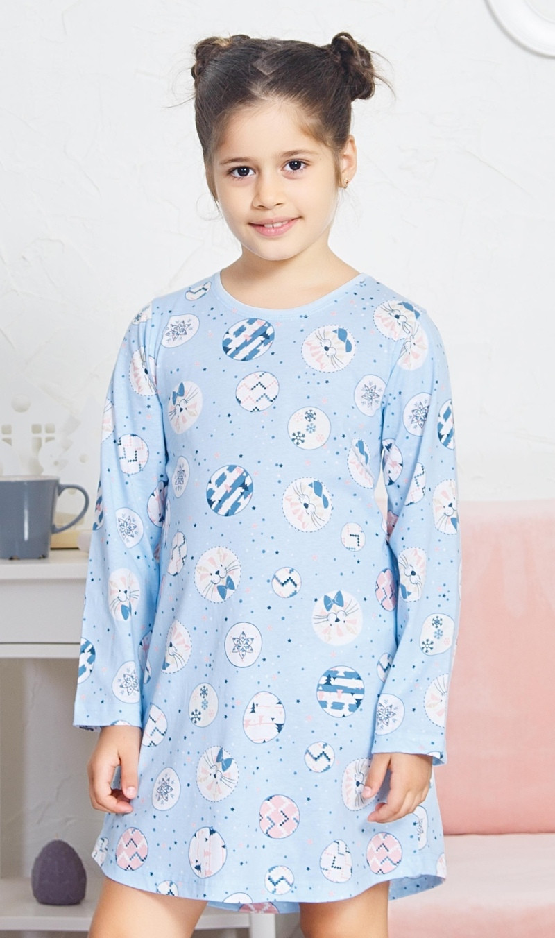Detská nočná košeľa s dlhým rukávom Kitty svetlo modrá 15 - 16