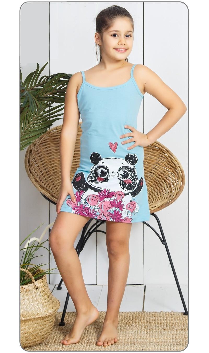 Detská nočná košeľa na ramienka Panda lososová 3 - 4