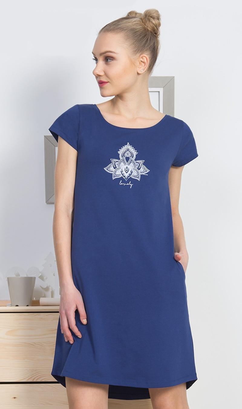 Dámske domáce šaty s krátkym rukávom Lovely tmavo modrá S