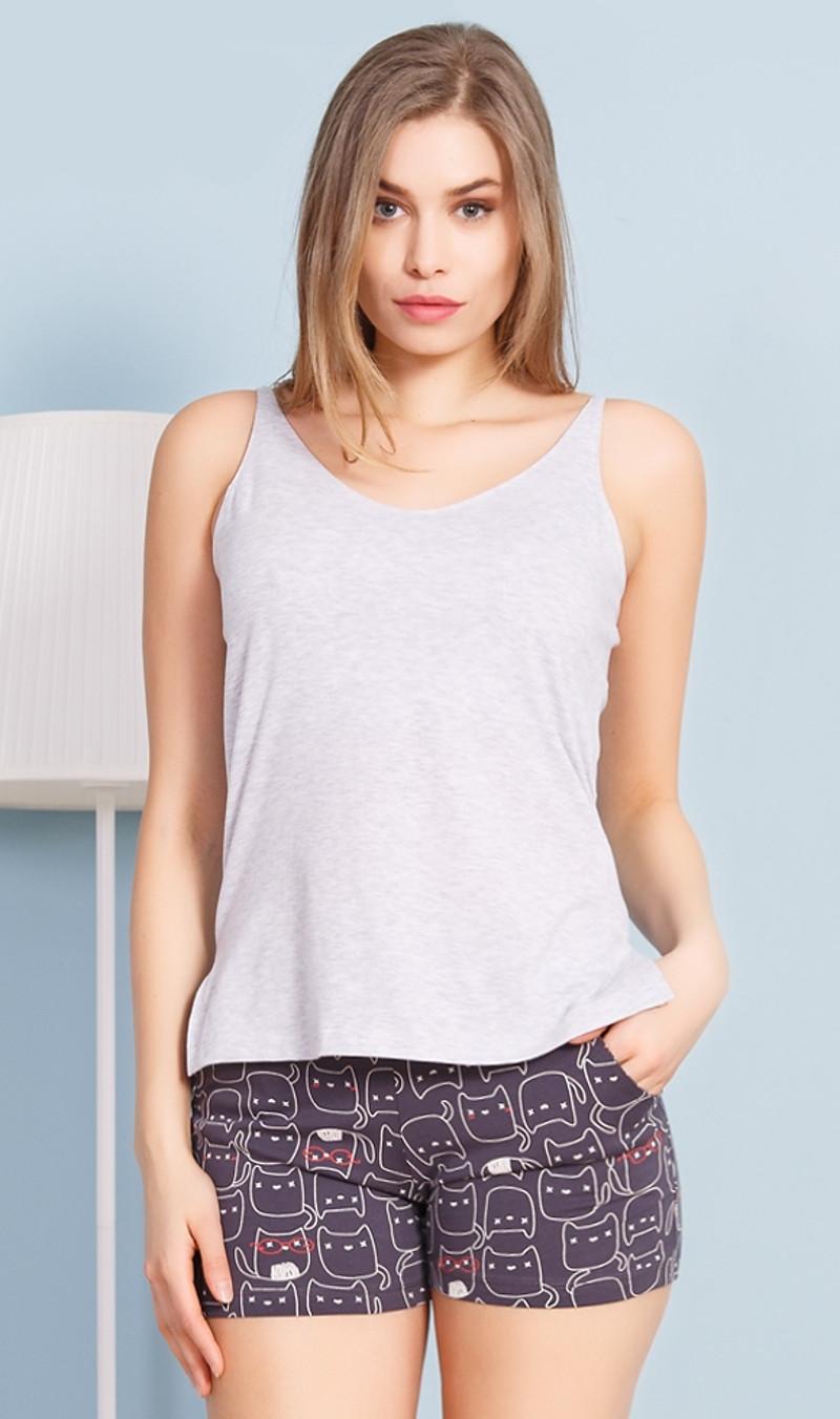 Dámske pyžamo šortky na ramienka Mačky sivá XL