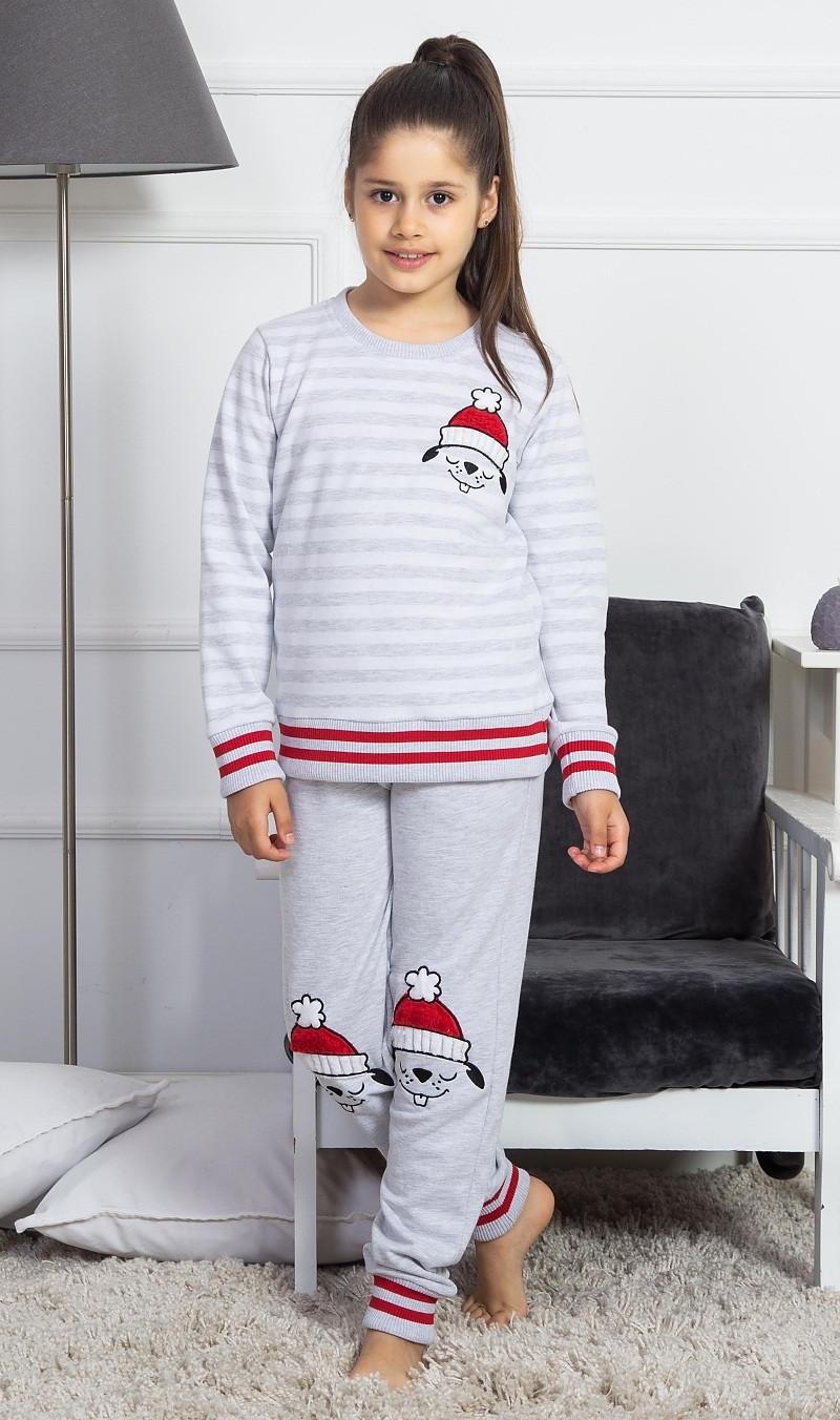 Detské pyžamo dlhé Lenka svetlo šedá 15 - 16