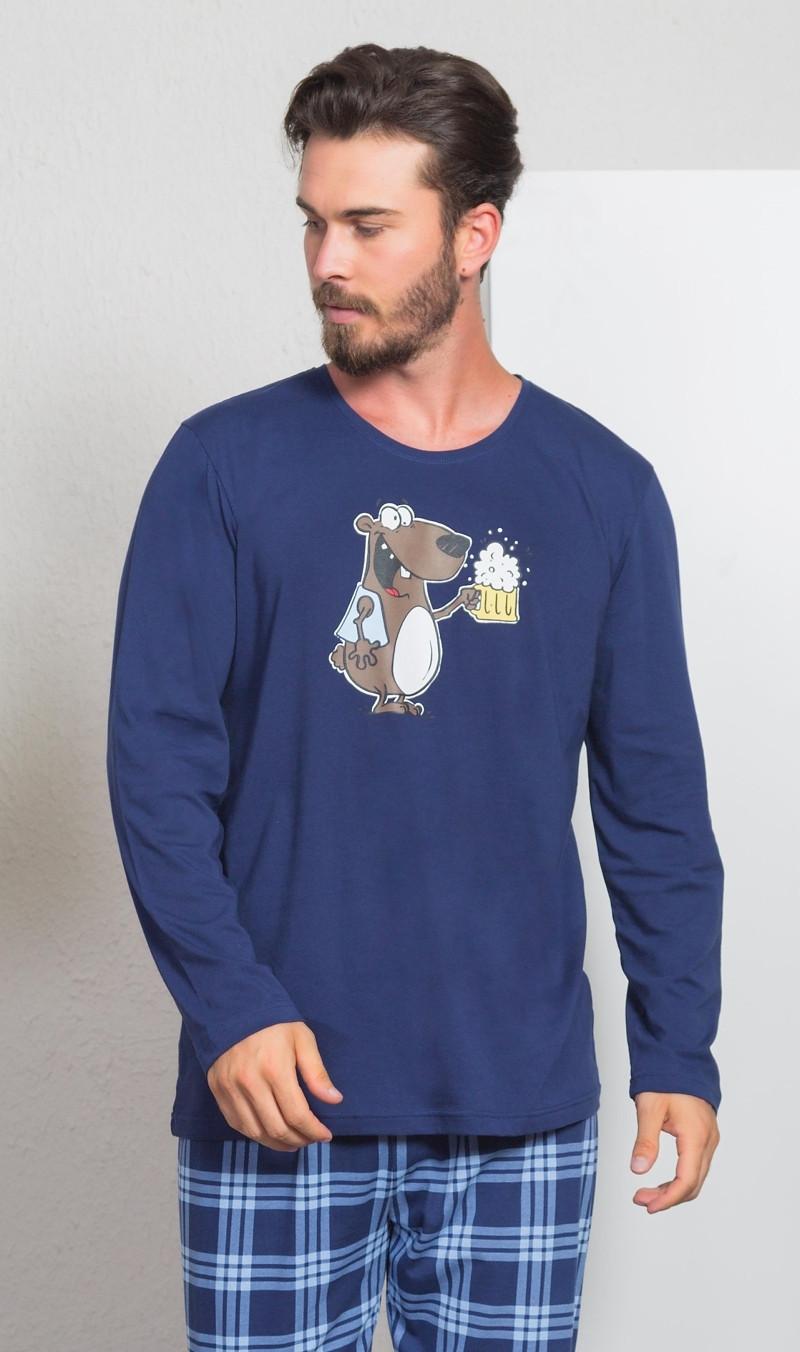 Pánske pyžamo dlhé Medveď s pivom tmavo modrá M