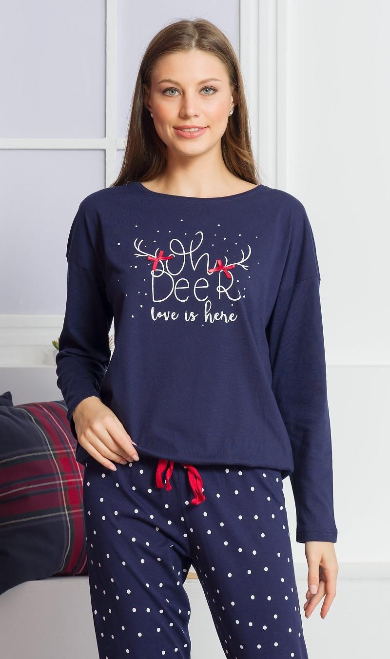 Dámske pyžamo dlhé Adéla tmavo modrá S