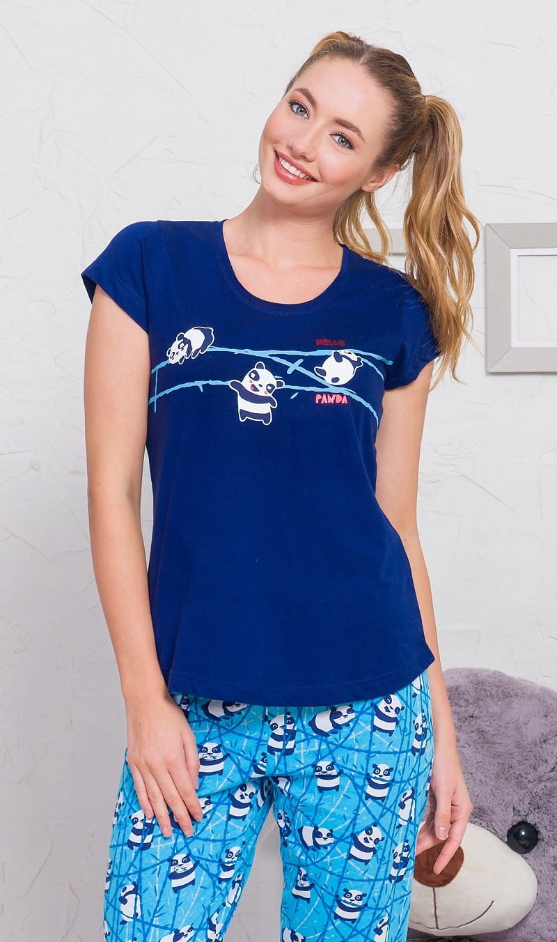 Dámské pyžamo kapri Malá panda světle šedá M