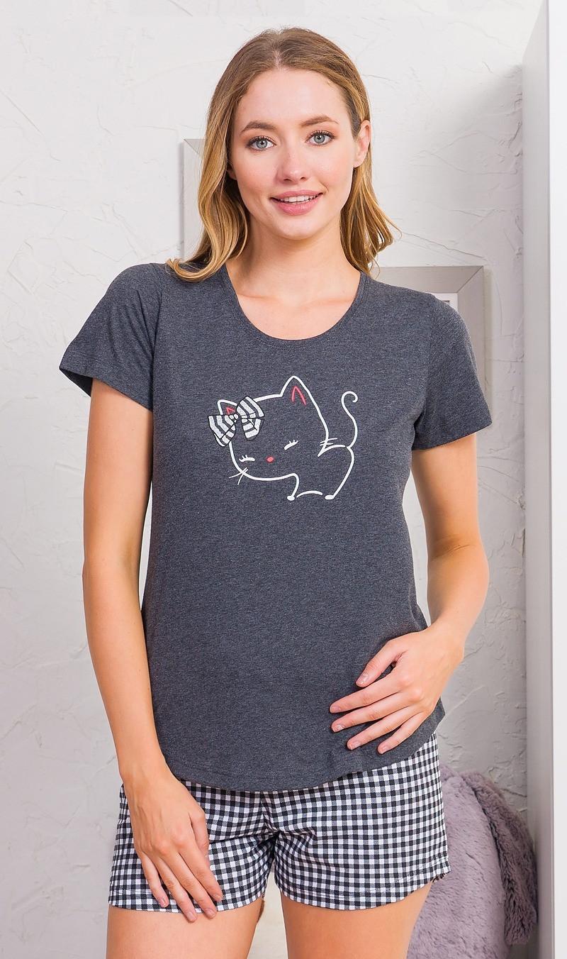 Dámske pyžamo šortky Mačiatko s mašličkou tmavo šedá S
