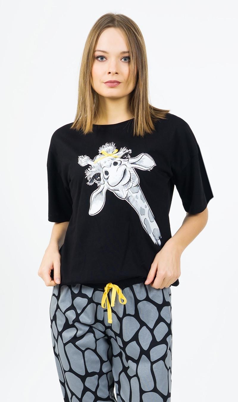Dámske pyžamo kapri Žirafa čierna XXL