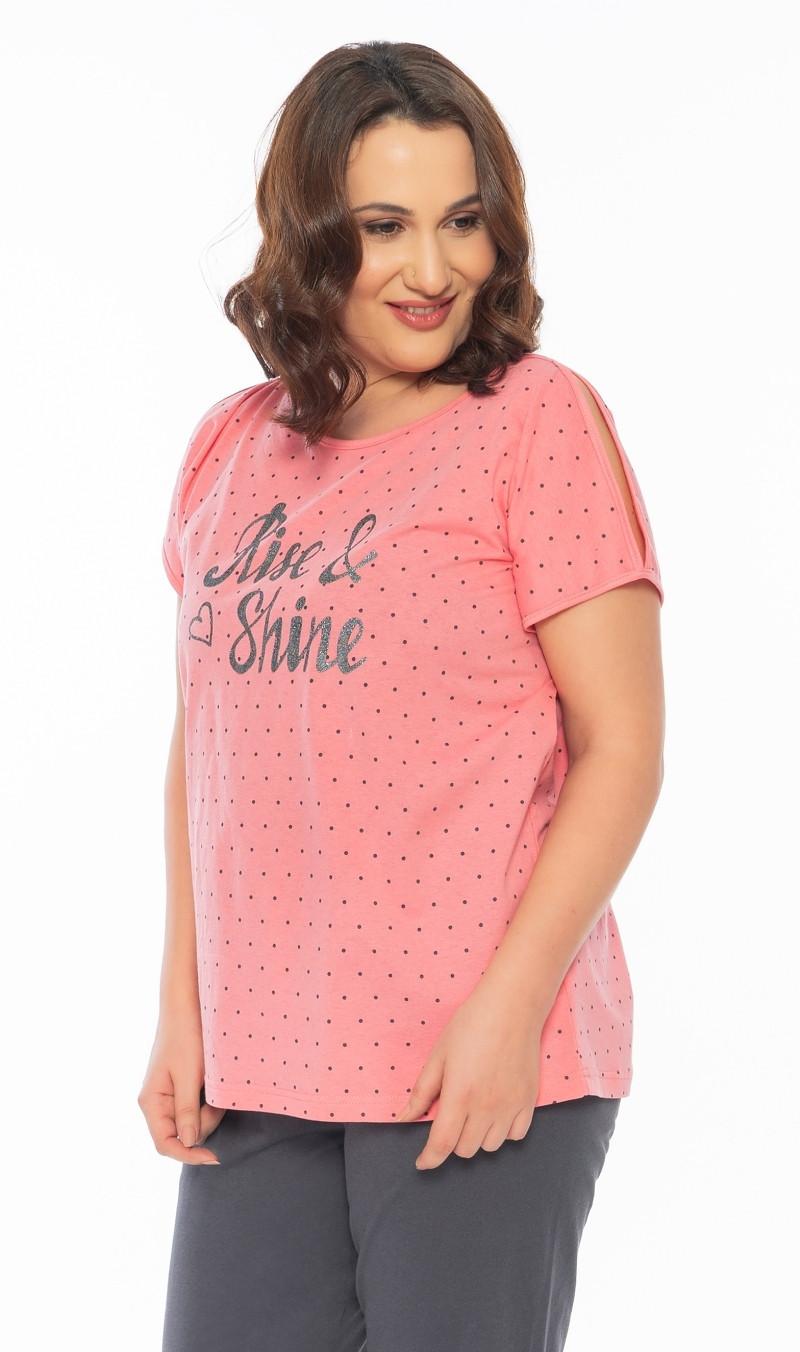 Dámske pyžamo kapri Shine lososová 1XL