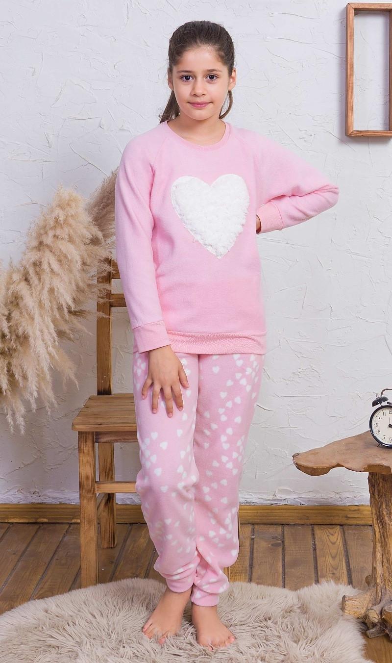 Detské pyžamo dlhé Srdce svetlo ružová 15 - 16