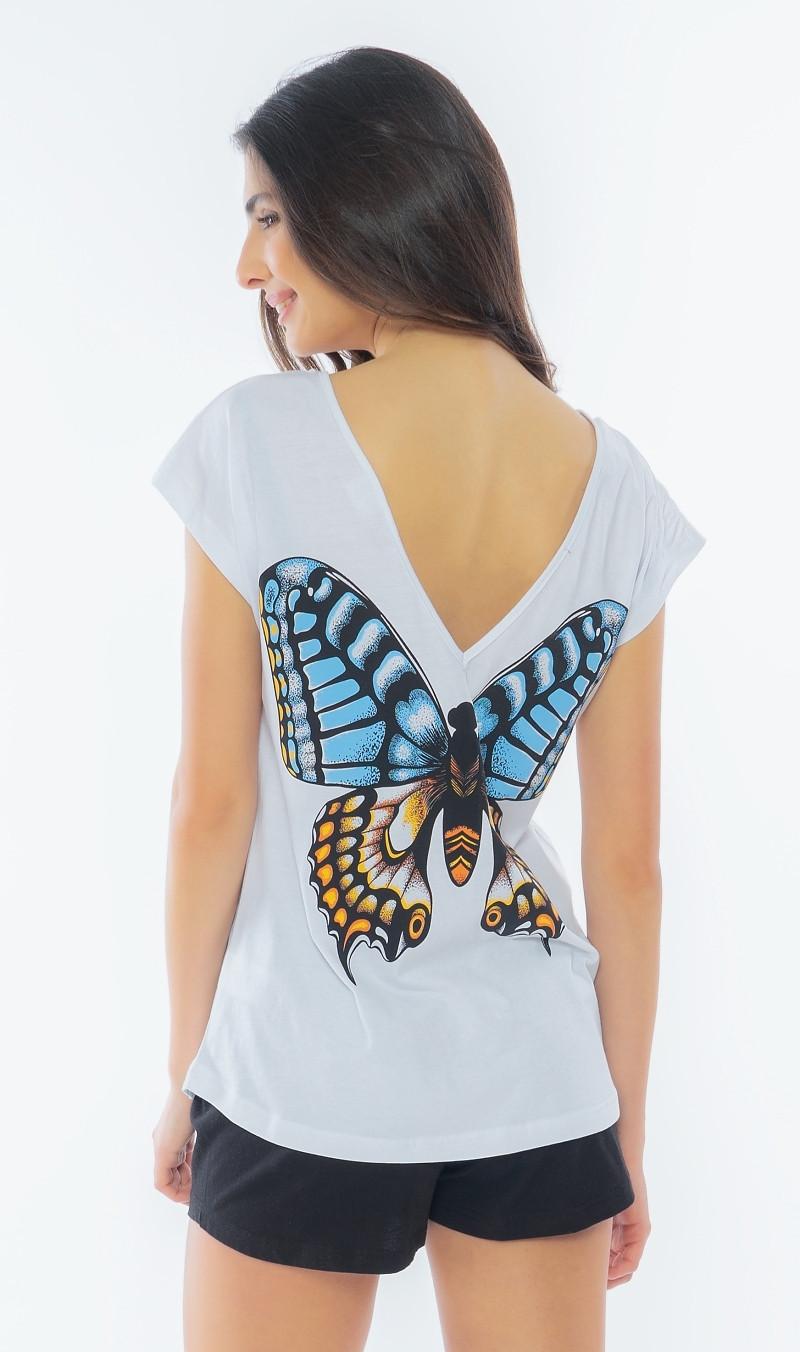Dámske pyžamo šortky Veľký motýľ biela S