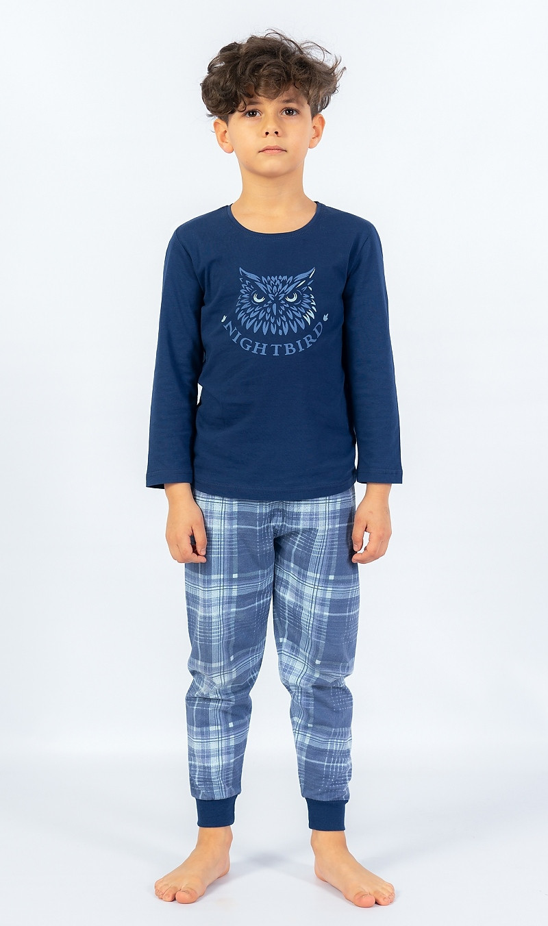Detské pyžamo dlhé Sova tmavo modrá 15 - 16