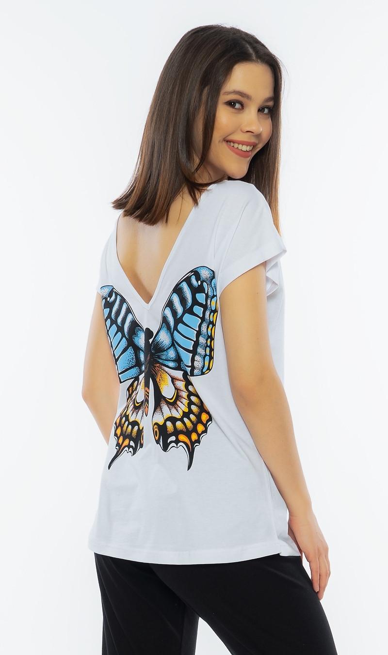 Dámske pyžamo kapri Veľký motýľ biela S