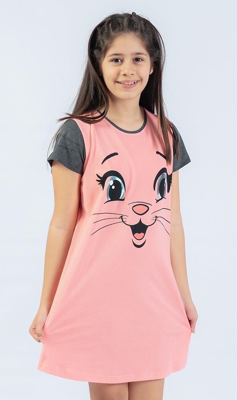 Detská nočná košeľa s krátkym rukávom Miláčik lososová 15 - 16